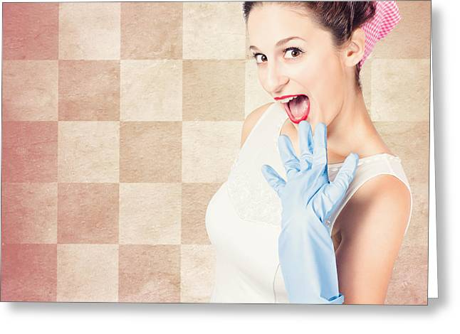 Vintage Surprised Pinup Woman Doing Housework Greeting Card by Jorgo Photography - Wall Art Gallery