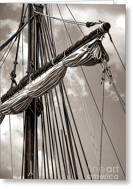 Vintage Tall Ship Rigging Greeting Card by Olivier Le Queinec