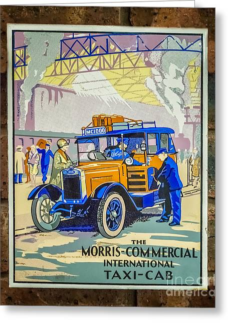 Victorian Greeting Cards - Vintage Taxi Sign Greeting Card by Adrian Evans