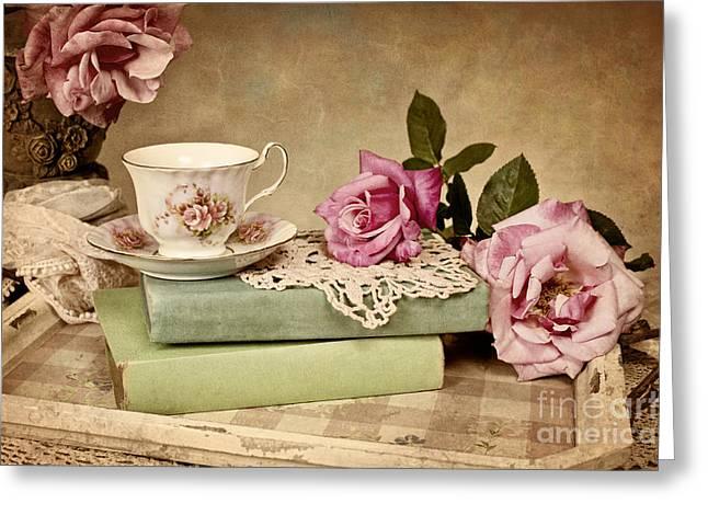 Vintage Tea Greeting Card by Cheryl Davis