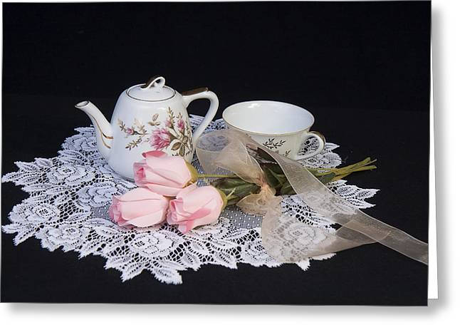 Vintage Tea Set Greeting Card by Trudy Wilkerson