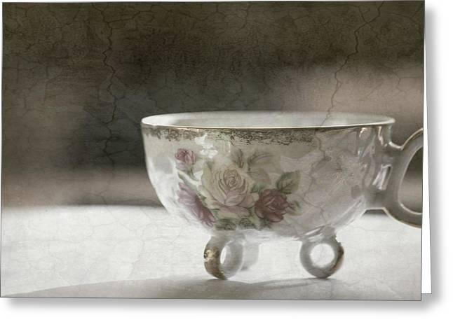 Vintage Teacup Greeting Card by Bonnie Bruno