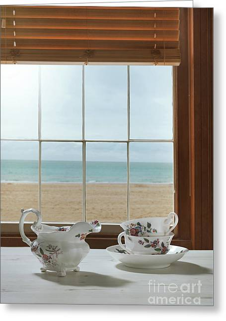 Vintage Teacups In The Window Greeting Card by Amanda Elwell