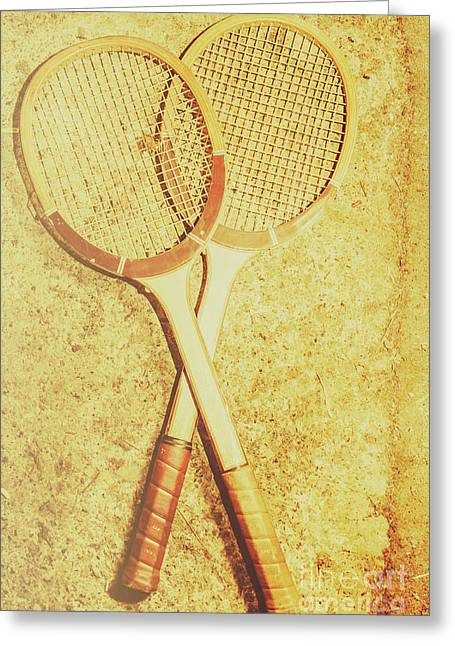 Vintage Tennis Racquets Greeting Card by Jorgo Photography - Wall Art Gallery