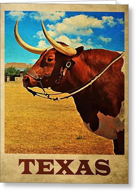 Texas Bull Greeting Card by Flo Karp