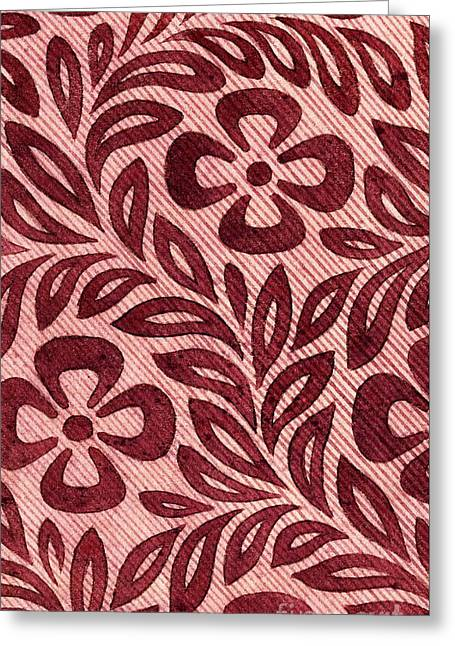 Vintage Textile Design With Flower Motif Greeting Card by English School