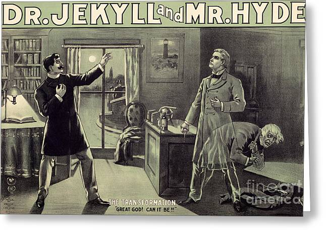 Vintage Theater Poster For A Performance Of Dr Jekyll And Mr Hyde In London Greeting Card