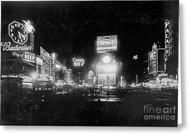 Vintage Times Square At Night Black And White Greeting Card by John Stephens