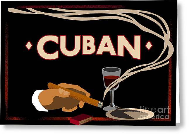 Vintage Tobacco Cuban Cigars Greeting Card by Mindy Sommers