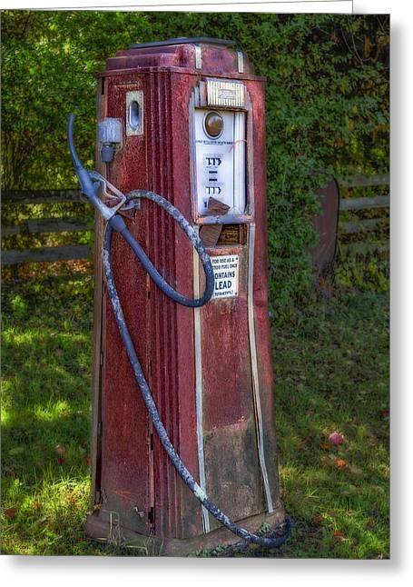 Vintage Tokheim Gas Pump Greeting Card by Susan Candelario