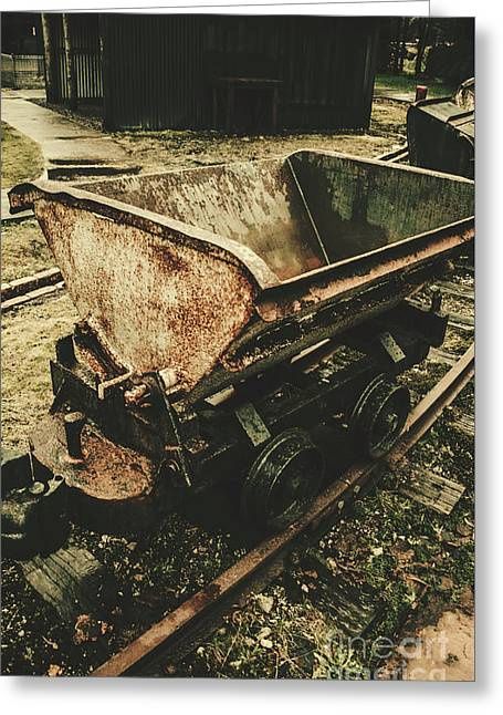 Vintage Toned Mine Cart Greeting Card by Jorgo Photography - Wall Art Gallery