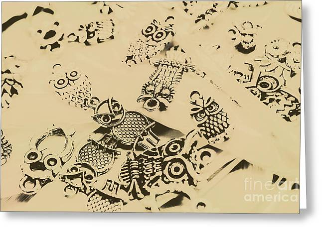 Vintage Toned Owls Greeting Card