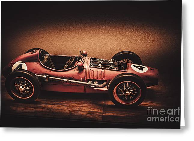 Vintage Toy Model Racing Car Greeting Card by Jorgo Photography - Wall Art Gallery