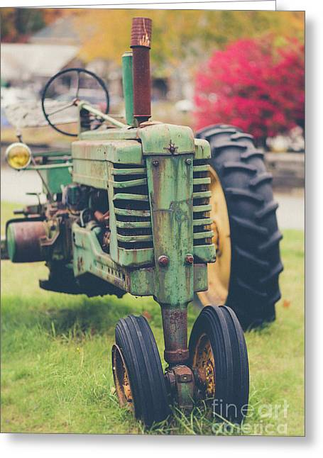 Vintage Tractor Autumn Greeting Card by Edward Fielding