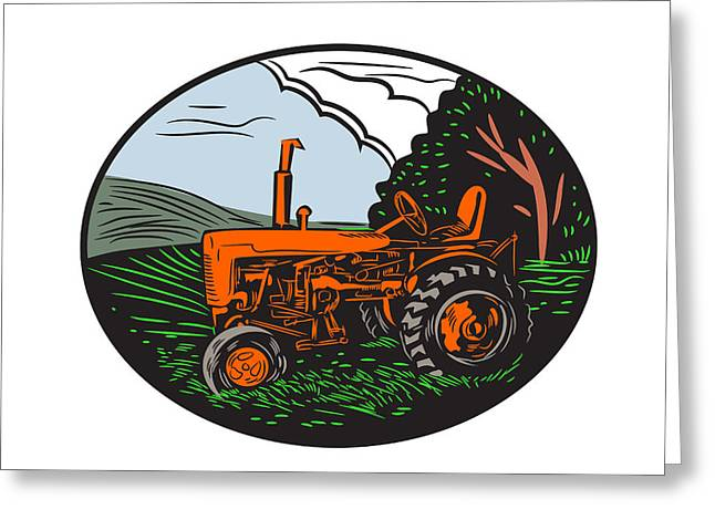 Vintage Tractor Farm Woodcut Greeting Card by Aloysius Patrimonio