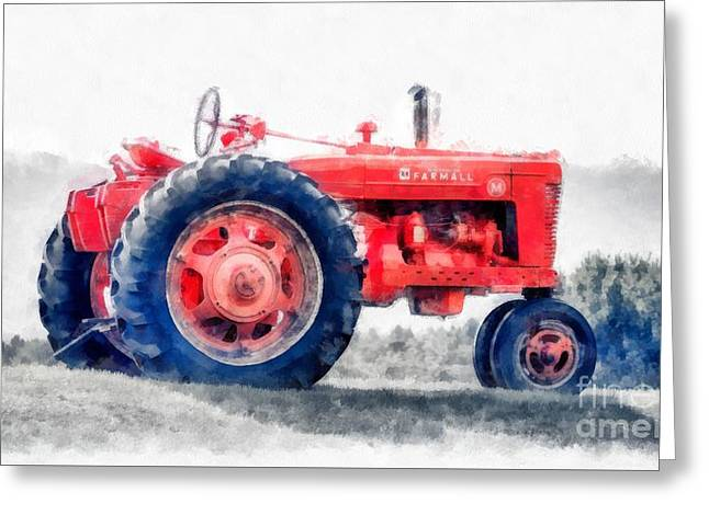 Vintage Tractor Watercolor Greeting Card by Edward Fielding
