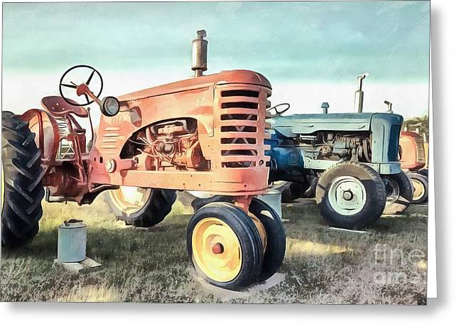 Vintage Tractors New Glasgow Pei Greeting Card by Edward Fielding
