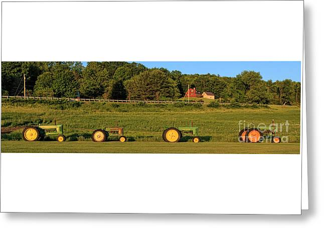 Vintage Tractors Sunset Panoramic Greeting Card
