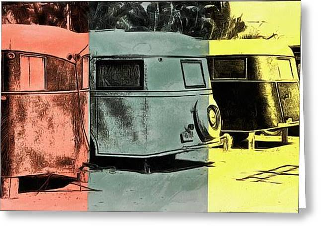 Greeting Card featuring the painting Sarasota Series Vintage Trailer Park Pop Art by Edward Fielding