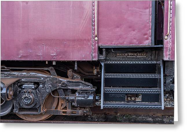 Greeting Card featuring the photograph Vintage Train Car Steps by Terry DeLuco