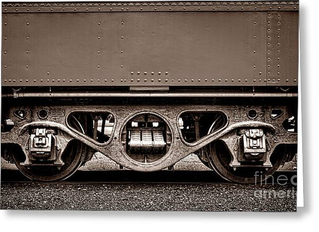 Vintage Train Car Truck Greeting Card by Olivier Le Queinec