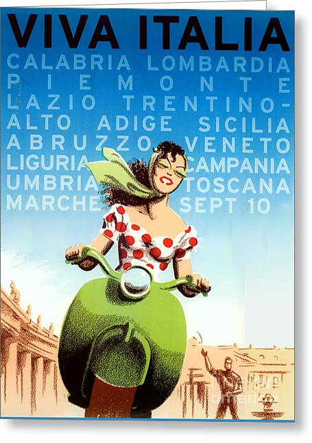 Vintage Travel Italy Greeting Card by Mindy Sommers