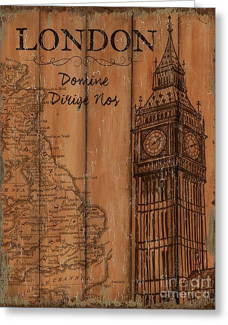 Greeting Card featuring the painting Vintage Travel London by Debbie DeWitt