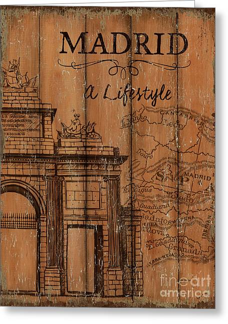 Vintage Travel Madrid Greeting Card by Debbie DeWitt