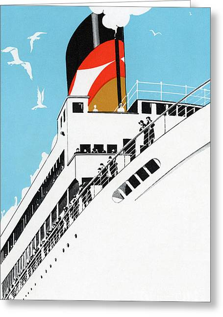 Vintage Travel Poster A Cruise Ship With Passengers, 1928 Greeting Card