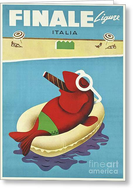 Vintage Travel Poster Italy Greeting Card by Mindy Sommers