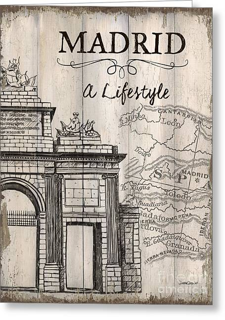 Vintage Travel Poster Madrid Greeting Card by Debbie DeWitt