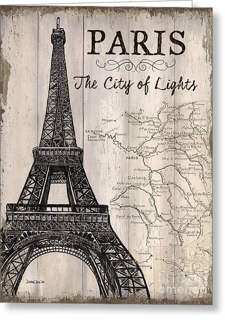 Vintage Travel Poster Paris Greeting Card by Debbie DeWitt