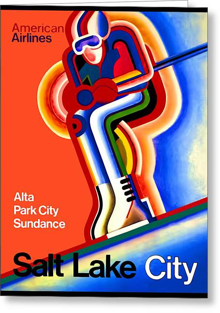 Vintage Travel Poster Salt Lake City Greeting Card