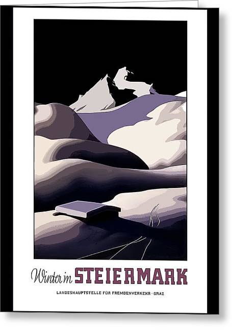 vintage travel poster Winter in Steiermark Greeting Card
