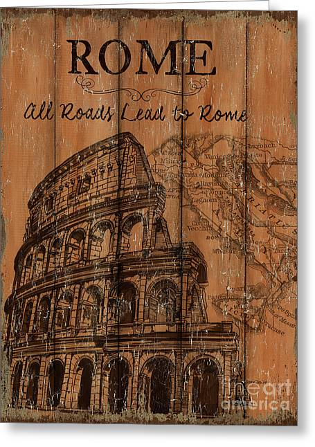 Greeting Card featuring the painting Vintage Travel Rome by Debbie DeWitt