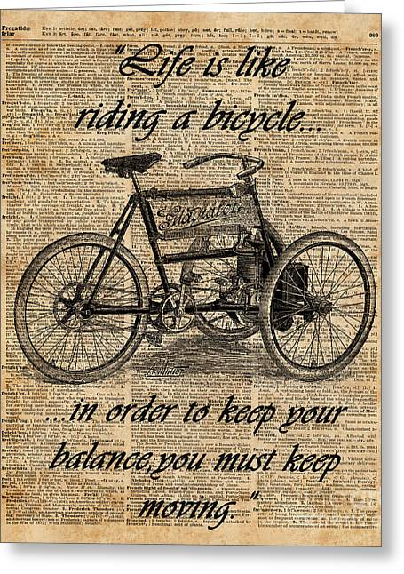 Vintage Tricycle Antique Bicycle Motivational Quote Retro Dictionary Art Greeting Card by Jacob Kuch
