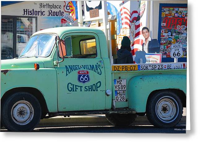 Vintage Truck With Elvis On Historic Route 66 Greeting Card