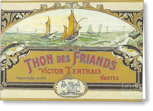 Vintage Tuna Can Label Greeting Card by Edward Fielding