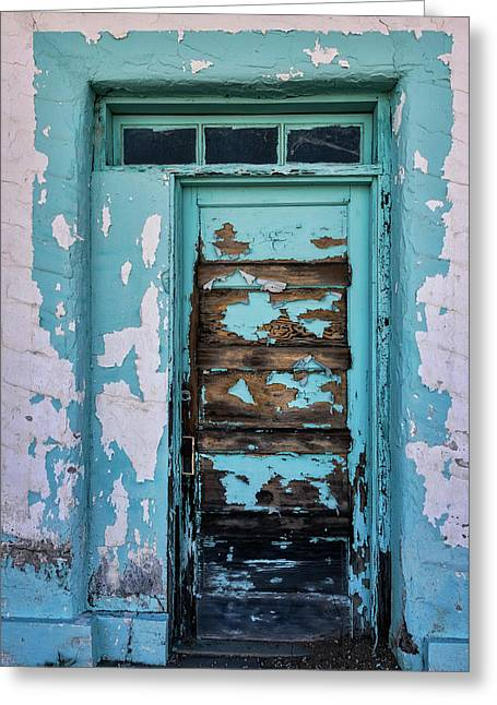 Greeting Card featuring the photograph Vintage Turquoise Door  by Saija Lehtonen