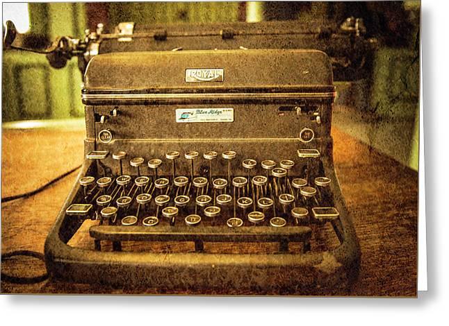 Vintage Typewriter Greeting Card by Cynthia Wolfe