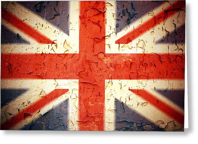 Peeling Greeting Cards - Vintage Union Jack Greeting Card by Jane Rix