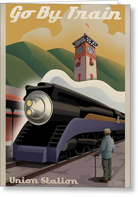 Bedroom Greeting Cards - Vintage Union Station Train Poster Greeting Card by Mitch Frey
