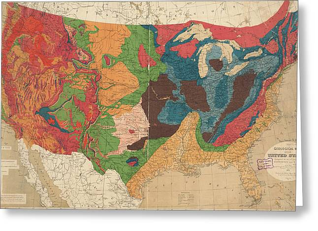 Vintage United States Geological Map - 1872 Greeting Card by CartographyAssociates