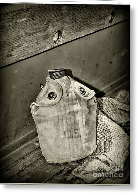Vintage Us Canteen In Black And White Greeting Card