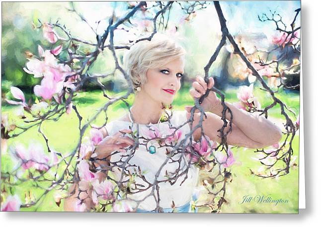 Vintage Val Magnolias Greeting Card