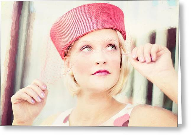 Vintage Val The Coral Hat Greeting Card