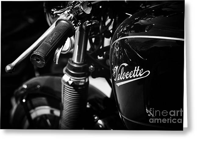 Vintage Velocette Greeting Card by Tim Gainey