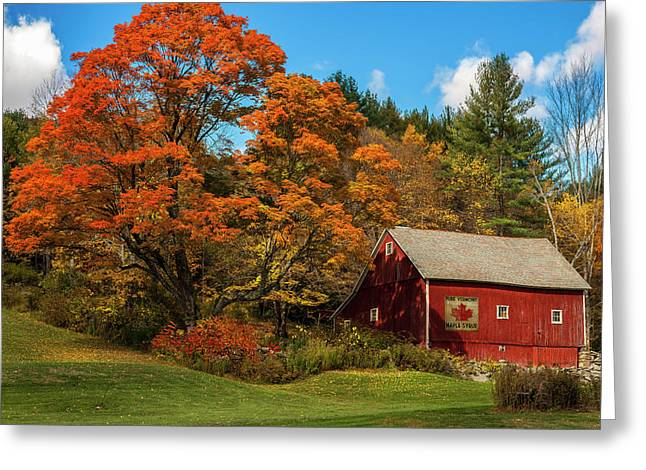 Vintage Vermont - Red Barn Greeting Card by Thomas Schoeller