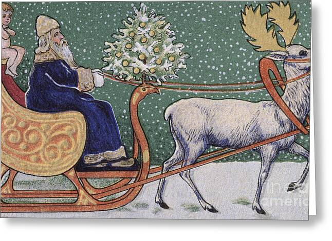 Vintage Victorian Depicting Father Christmas On His Sleigh Greeting Card