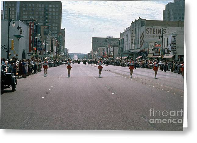 Vintage View Looking South On Iconic Congress Avenue Of Majorett Greeting Card by Herronstock Prints